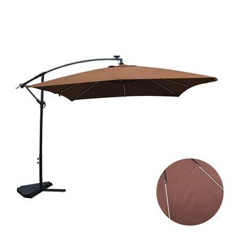 Solenzara Néon chocolat : parasol LED déporté 3x3m