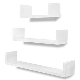 Vidaxl 3 Etagères Murales En Forme De U Et Mdf Blanc Pour Livresdvd