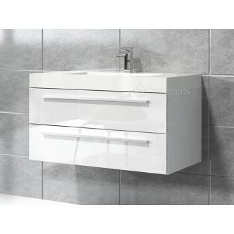 Meuble De Salle De Bain Rome 80cm Lavabo Blanc Brillant Armoire De