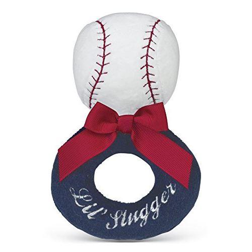 Bearington Baby Lil Slugger Peluche Peluche Baseball Animal Anneau Doux Hochet 5.5