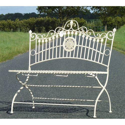 L'Héritier Du Temps - Banc banquette fauteuil de jardin exterieur 2 personnes pliable en fer blanc 55x102x109cm