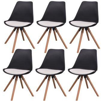 vidaXL 6x Chaise Salle à Manger Cuir Artificiel Noir Blanc Chaise de ...