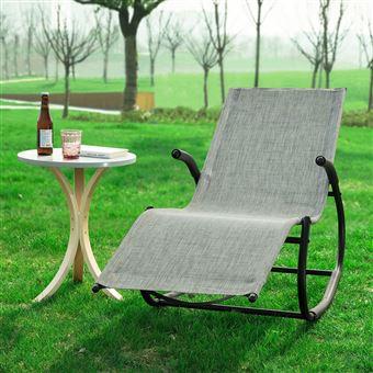SoBuy® OGS41-MS Fauteuil à Bascule Chaise Longue Bains de Soleil Transat de  Jardin Rocking Chair Confortable