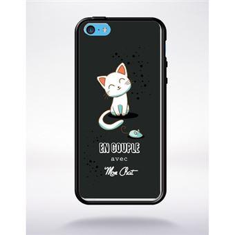 Coque en couple avec mon chat fond noir compatible apple iphone 5c bord noir silicone