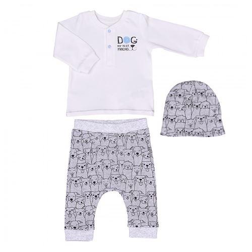 Sevira Kids - Ensemble vêtements Bébé 3 pièces en coton biologique - Best Friend Écru 6-9m - 68cm