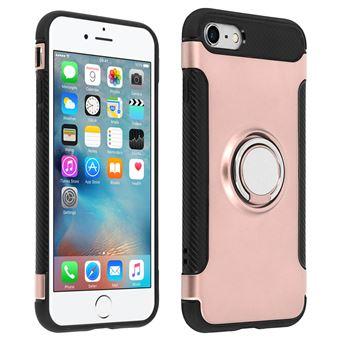 coque avec renfort en carbone Silicone rose et anneau metallique Apple iPhone 6 6s Plus