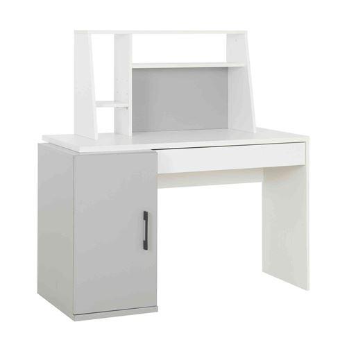 Bureau avec surmeuble en bois gris et blanc - BU5026-3