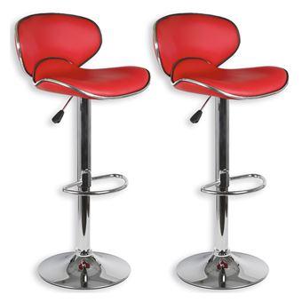 Lot de 2 tabourets de bar LOUNGE chaise haute pour cuisinecomptoir, réglable en hauteur et pivotante, revêtement synthétique rouge