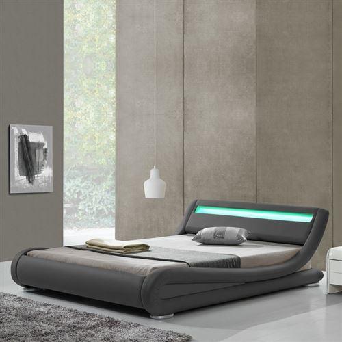 Lit design LED Julia - 160x200 - Gris