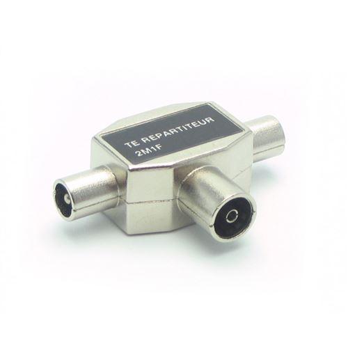 Répartiteur d'antenne TV METRONIC 436211 - 2 voies en T 2 mâles/1 fem. blindé 9,52 mm