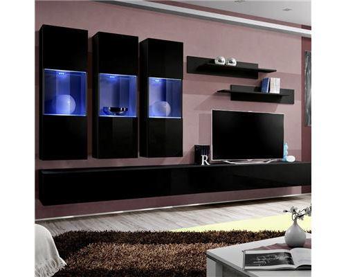 Meuble TV ensemble mural noir ARDARA - L 320 x P 40 x H 190 cm