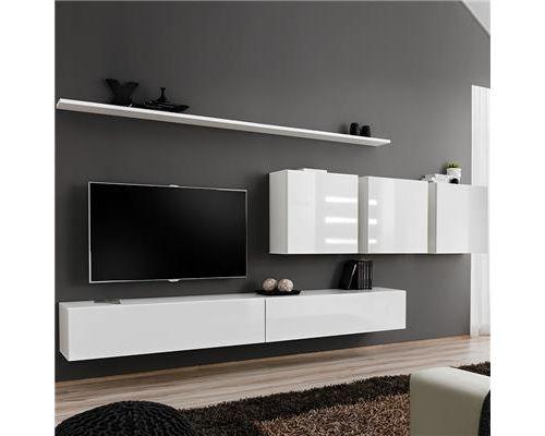 Meuble télé suspendu blanc ANSELMO 3-L 340 x P 40 x H 150 cm- Blanc