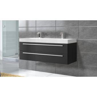 Meuble de salle de bain Rome 120cm lavabo bois noir ...
