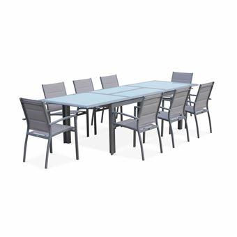 Salon de jardin table extensible - Philadelphie Gris clair Alice\'s garden