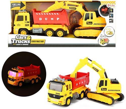 Cars & Trucks - Camion à benne basculante avec pelle - Son et lumière - couleur jaune & rouge - Cars & Trucks