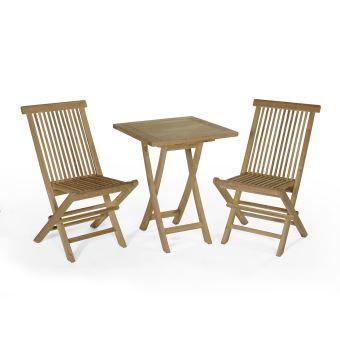 Salon de jardin en teck Ecograde Sawu, table pliante carrée 60 cm + ...