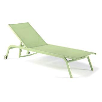 Bain de soleil aluminium et textilène vert anis Perth