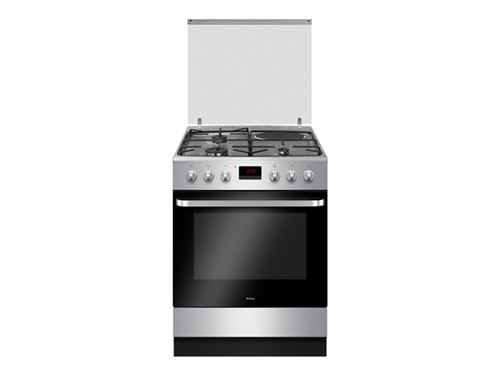Amica ACM7037X - Cuisinière - pose libre - largeur : 60 cm - profondeur : 60 cm - hauteur : 85 cm - avec système auto-nettoyant - classe A - inox