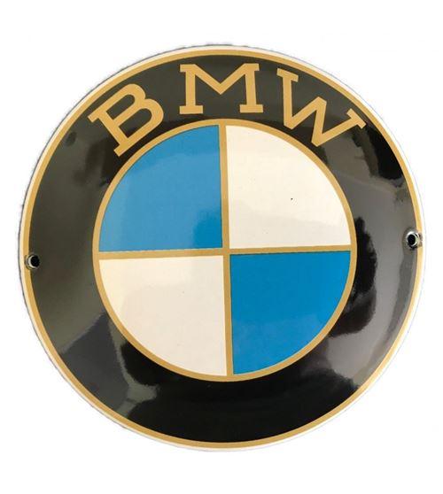 mini plaque emaillée BMW ronde doré ancien logo 15x9cm tole email