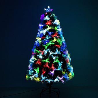 Image Brillante De Noel.Sapin De Noel Artificiel Lumineux Fibre Optique Led Multicolore Support Pied O 66 X 120h Cm 130 Branches Etoile Sommet Brillante Vert