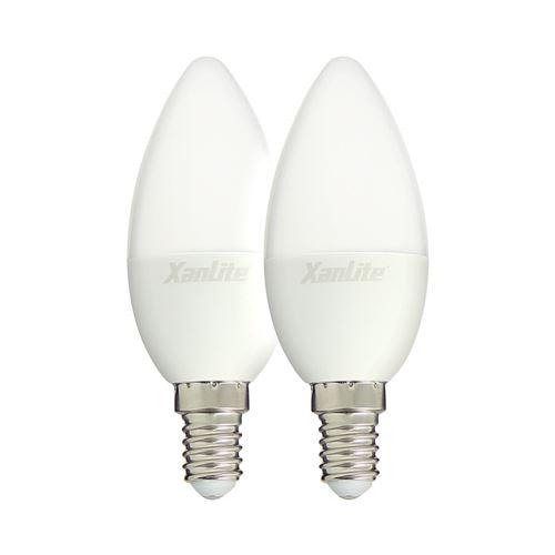 Xanlite|Ampoule LED flamme, culot E14, 5W cons. (40W eq.), lumière blanc chaud|PACK2EV470F