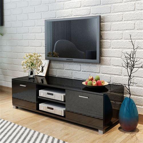 Meuble tv à haute brillance noir 140 x 40,3 x 34,7 cm