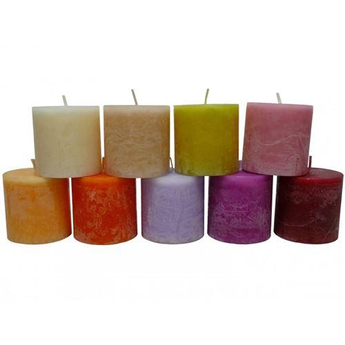 Bougie de Cire Parfumée Fruitée ou Florale Cylindrique pour Photophores ou à Poser 6x6x6cm