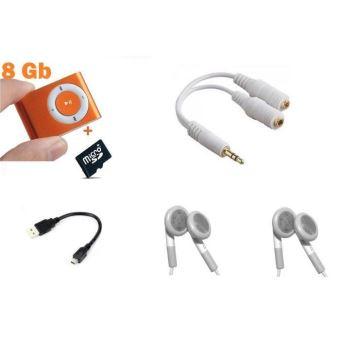 Lecteur baladeur MP3 - carte 8 Go - 2 ecouteurs - Splitter jack audio - Orange