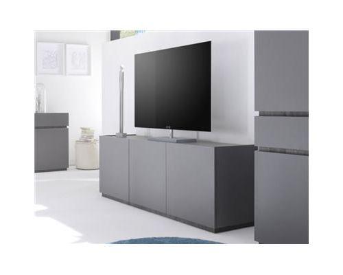 Buffet bas gris ou blanc 3 portes STANISLAS-L 184 x P 51 x P 60 cm- Gris