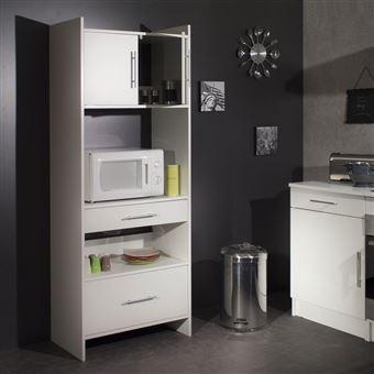 meuble desserte micro ondes l70xp40xh180cm simply blanc. Black Bedroom Furniture Sets. Home Design Ideas