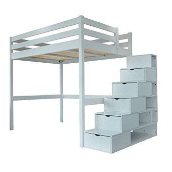 abc meubles lit mezzanine sylvia avec escalier cube bois cube gris aluminium 120x200. Black Bedroom Furniture Sets. Home Design Ideas