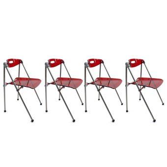 Chaise Design Plexiglas Rouge Pliante JULIE Lot De 4