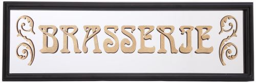 Sil - Miroir inscription Brasserie feuille d'or