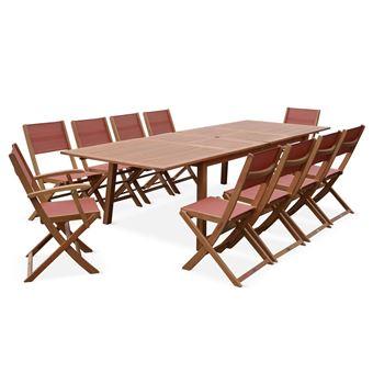Salon de jardin en bois extensible - Almeria - Grande table avec 2  rallonges, 2 fauteuils et 8 chaises