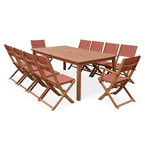 20€ sur Salon de jardin en bois extensible - Almeria - Grande table ...