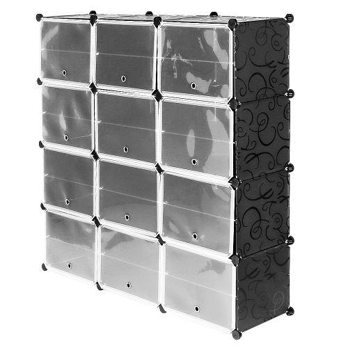 Armoire Penderie de Chambre - Étagère à Chaussures - DIY Meuble Rangement Grande Capacité de 12 Cubes