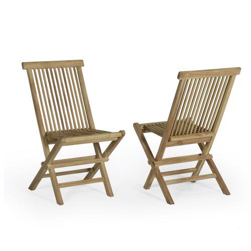 Chaises de jardin pliantes en teck Java (lot de 2)