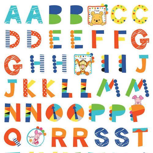 Stickers géant Winnie l'Ourson Alphabet Disney