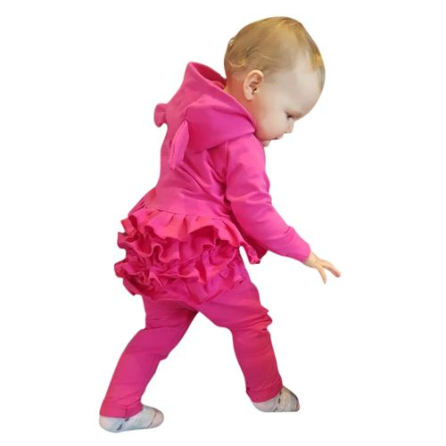 Enfant Tout-Petit Bébé Cartoon Manches Longues à Capuche Hauts + Ruffle Pantalons Tenues Set YEZB293