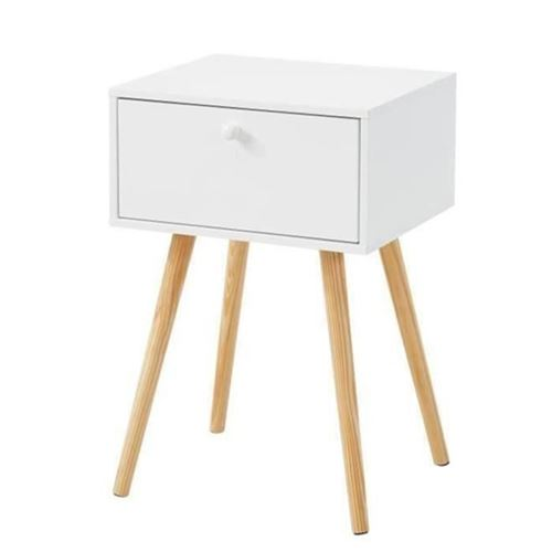 HORTENSE Table de chevet scandinave blanc laqué satiné - L 40 cm