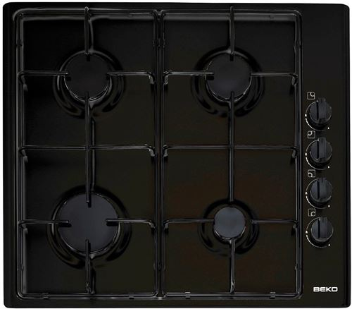 Beko HIZG64120SB - Table de cuisson au gaz - 4 plaques de cuisson - Niche - largeur : 56 cm - profondeur : 49 cm - noir
