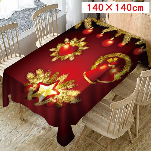 Nappe de Noël Imprimer Rectangle Table Cover Holiday Party Home Decor_Kiliaadk423