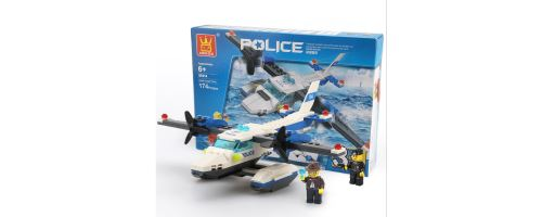 Building Block jouets avion de police Wange Couleur 51014