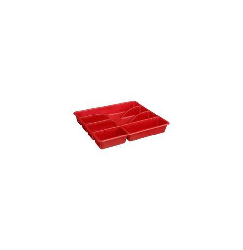 Range couverts rouge - 5 compartiments- Plastique