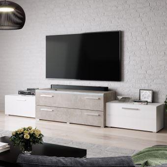 Meuble Tv Meuble Salon Mollit 220 Cm Blanc Brillant Beton Avec Led Style Contemporain Achat Prix Fnac