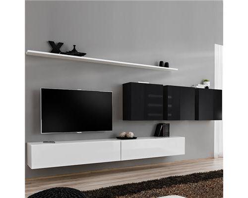 Meuble télé suspendu blanc et noir ANSELMO-L 340 x P 40 x H 150 cm- Noir