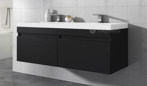 Meuble de salle de bain Avellino 120cm lavabo bois noir – Armoire de  rangement Meuble lavabo