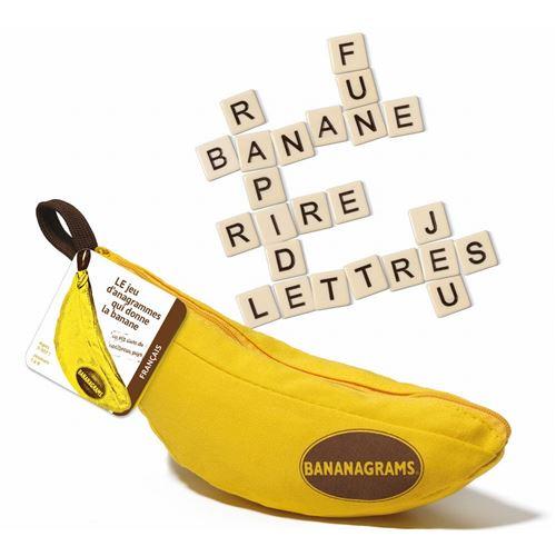 Pour 1 à 8 joueurs. A partir de 7 ans. Durée : environ 10 mn. Bienvenue dans le Monde de Banana grams !. Un jeu de lettres, de mots croisés, d'anagrammes, qui se déguste à toute allure ! Le jeu qui donne la banane !. But du jeu : Être le premier à avoir c