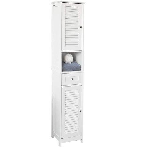 Meuble colonne de salle de bain HOMBUY armoire toilette haute meuble étagère salle de bain Blanc