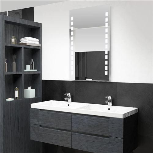Miroir mural à LED pour salle de bains 60 x 100 cm (144698)